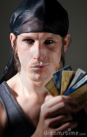 Free Thief With Credit Cards Royalty Free Stock Photos - 12144408