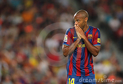 Thierry Henry FC Barcelona disappointment Editorial Stock Image