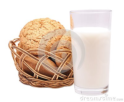 Thin captain in a basket and milk