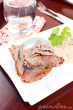 Thin cut meat slices with thai gravy sauce