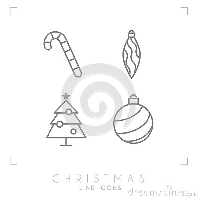 Thin line christmas icons. Decoration ball, christmas tree, candy cane. Vector Illustration