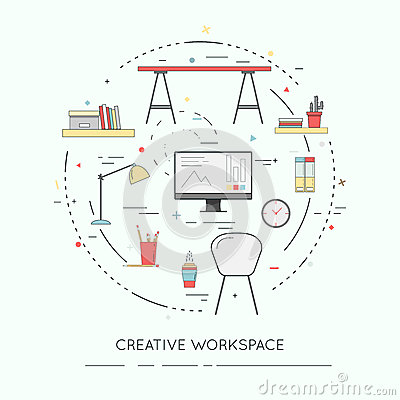Thin line flat design banner of Creative Workspace for website and mobile. Vector Illustration