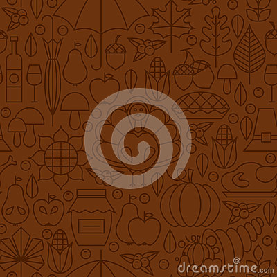 Free Thin Line Holiday Thanksgiving Day Brown Seamless Pattern Royalty Free Stock Images - 59484959