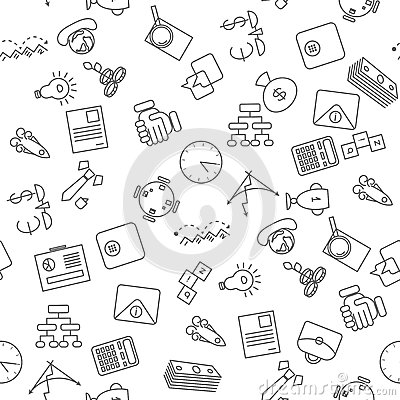 Thin line icons seamless pattern Vector Illustration