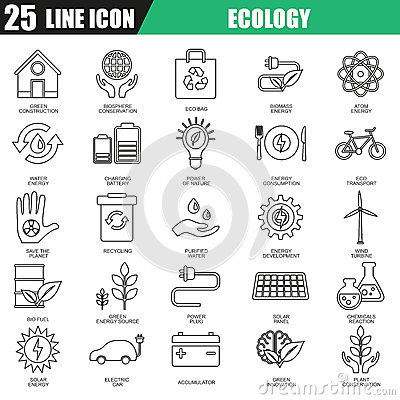 Thin line icons set of ecological energy source, environmental safety Vector Illustration
