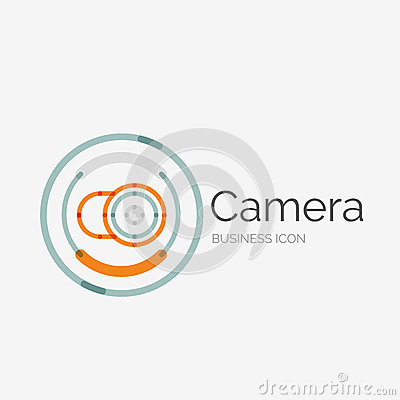 Thin line neat design logo camera concept stock vector for Modern cleaning concept