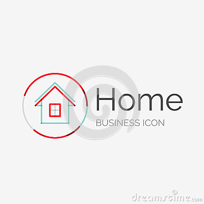 Thin line neat design logo home idea stock vector image for Modern cleaning concept