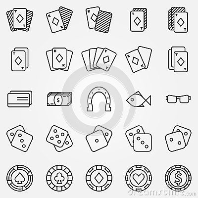 Thin Line Poker Or Casino Icons Vector Set Stock Vector ...