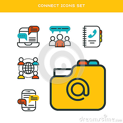 Thin lines connection icons outline set of big data center group cloud computing system internet protection password Vector Illustration