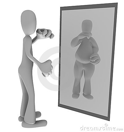 Thin person looking in mirror