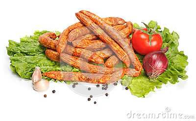 Thin sausages with vegetables