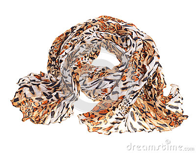 Thin summer scarf isolated on white