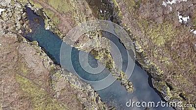 Thingvellir è una delle destinazioni turistiche più popolari in Islanda La vista aerea segna la cresta della dorsale mediatlantic archivi video