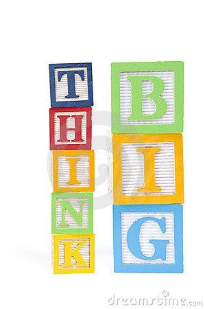 Think Big in a childs wooden blocks