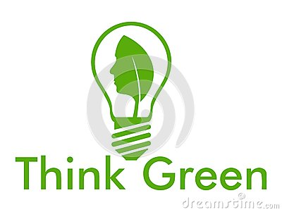 Think green with bulb and face