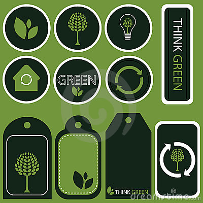 Think green concept stickers - vector