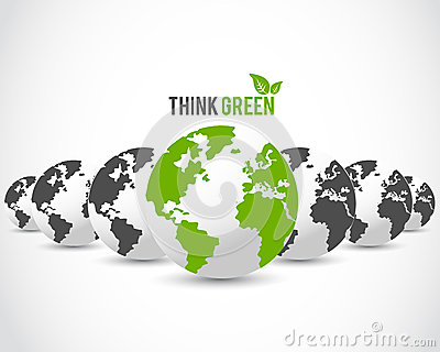 Think green globe concept