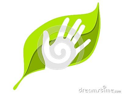 Think Green Human Hand on Leaf