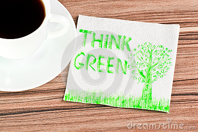 Think Green on a napkin