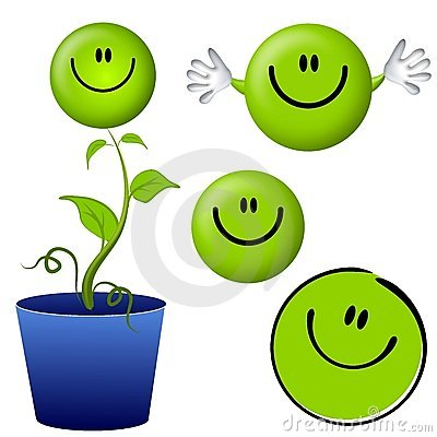 Free Think Green Smiley Face Cartoon Characters Stock Photography - 3877482