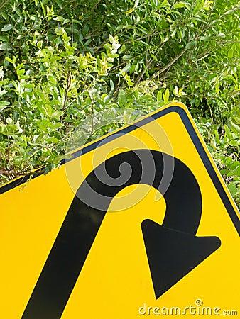 Think green - U-turn roadsign in lush vegetation