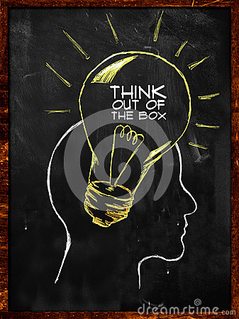Think out of the box sketch on blackboard