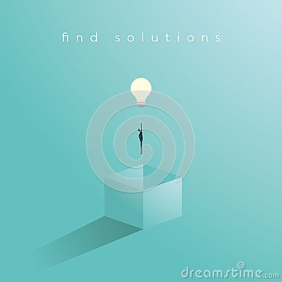 Think outside the box business concept vector with businessman having unieque creative idea for solution. Businessman Vector Illustration