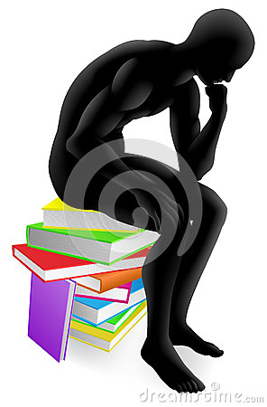 Thinker thinking sitting on books
