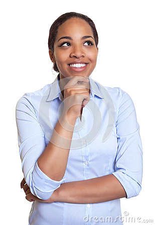 Free Thinking African Woman In A Blue Shirt Stock Images - 43426184