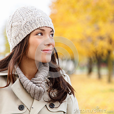 Free Thinking Autumn Woman Looking At Fall Forest Royalty Free Stock Image - 32583356
