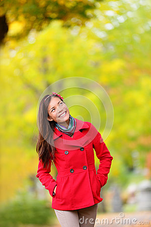 Free Thinking Autumn Woman Looking Up In Fall Forest Stock Photos - 32497763