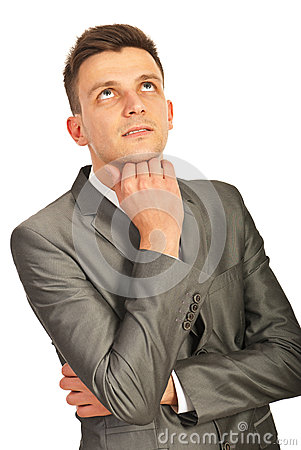 Thinking Business Man Looking Up Royalty Free Stock Photo - Image: 28245465