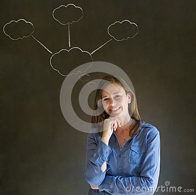 Thinking business woman with chalk cloud thoughts
