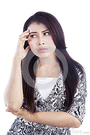 Thinking face expression isolated over white
