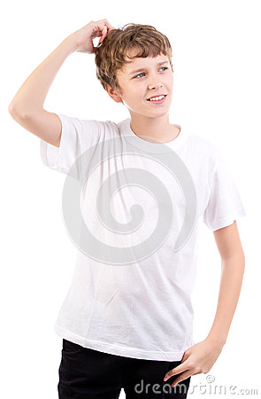 Thinking male teen scratches head