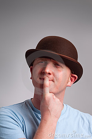 Thinking man in bowler hat