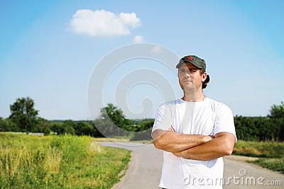 Thinking man outdoors