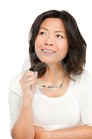Free Thinking Middle Aged Asian Woman Royalty Free Stock Photography - 22110177