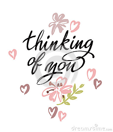 Free Thinking Of You. Vector Brush Calligraphy Stock Image - 64114201