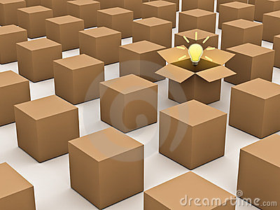 Thinking outside the box and individuality concept