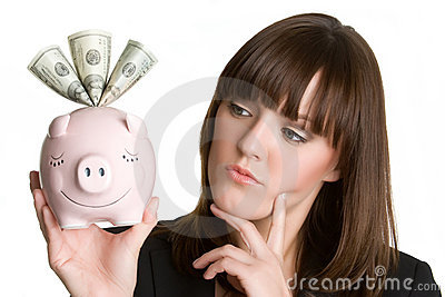 Thinking Piggybank Woman