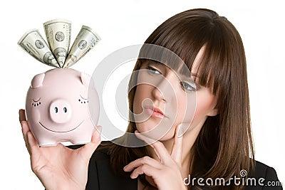 Thinking Piggybank Woman
