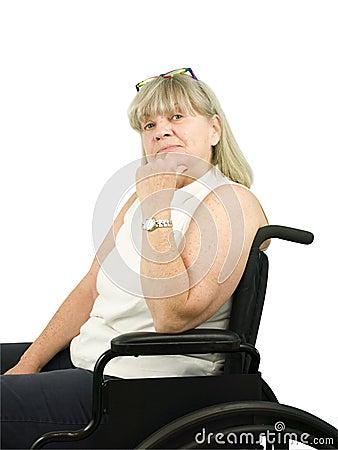 Thinking Senior Woman in Wheel Chair