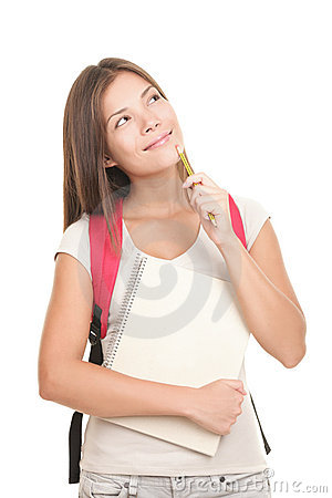Thinking University Student on white background