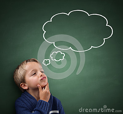 Free Thinking With Thought Bubble On Blackboard Royalty Free Stock Images - 48562939