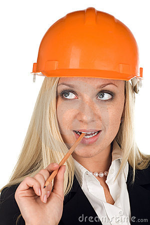 A thinking woman in hard hat