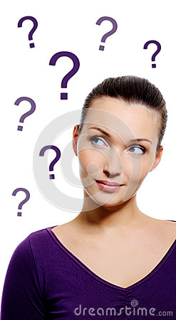 Free Thinking Woman With Question Sign Royalty Free Stock Images - 29120709