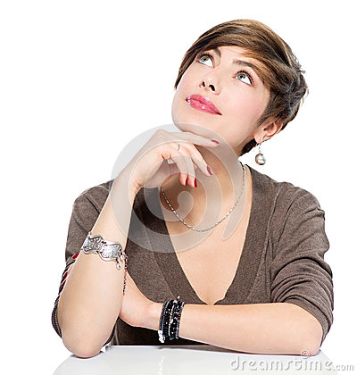 Free Thinking Young Beauty Woman Looking Up Stock Photography - 49087742
