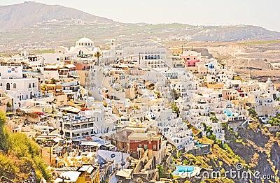 Thira the capital of Santorini, Greece. Editorial Stock Photo