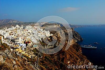 Thira (Fira) em Santorini, Greece